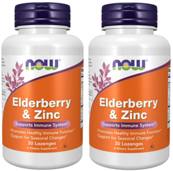 2x NOW Foods Elderberry & Zinc cynk czarny bez 30 tabletek do ssania