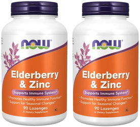 2x NOW Foods Elderberry & Zinc cynk czarny bez 90 tabletek do ssania