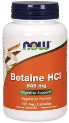NOW Foods Betaine HCl betaina 648mg 120 vege kapsułek